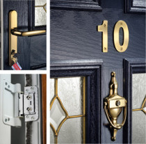 Hinges, Handles and Letter plates, fully suited hardware, even fire escape hinges fitted where required.