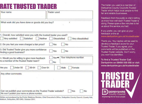 Rate Trusted Trader form