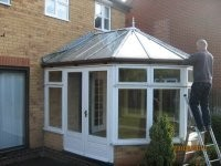 BEFORE: ORIGINAL TIMBER CONSTRUCTION with 10mm polycarbonate roof sheets